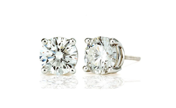 Sterling Silver Cubic Zirconia 2Ct Round White Stud Earrings