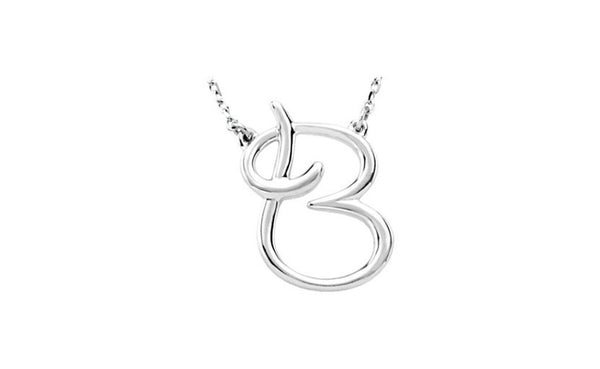 "Sterling Silver ""B"" Script Initial 16"" Necklace"