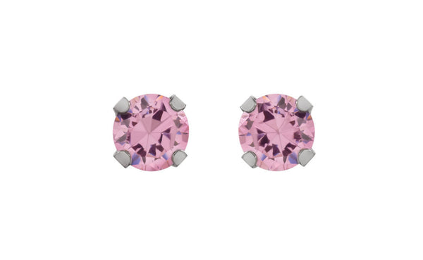 14K White Gold 5mm Pink Cubic Zirconia Inverness Earrings