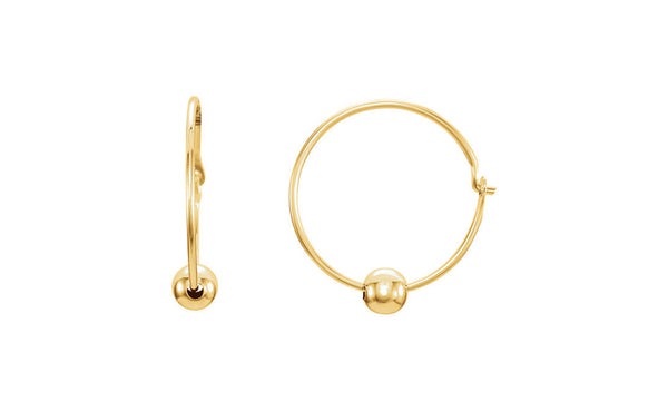 14K Yellow Gold Youth Hoop Earrings with Bead
