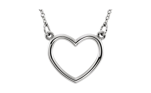 "Sterling Silver 10x10.75mm 16"" Heart Necklace"