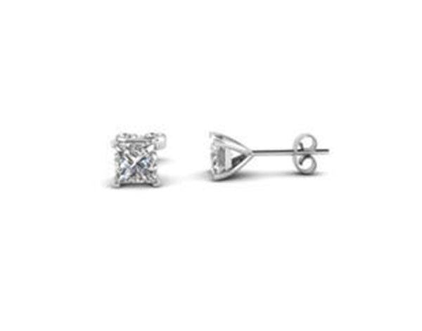 14k White Gold Over Sterling Silver 4Ct Princess White Cz Earrings