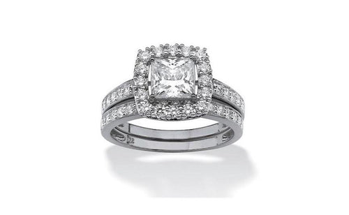 1. 93 TCW Platinum Plated Silver Princess Cubic Zirconia Bridal Ring