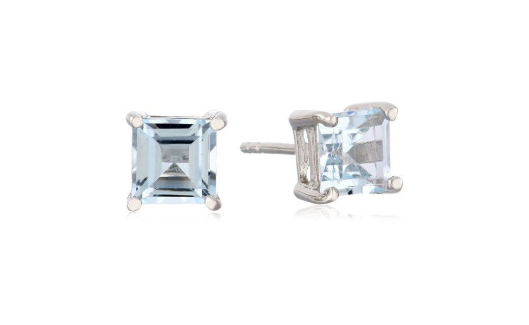 Sterling Silver 6mm Square-Cut Blue Topaz 2.2 Carat Stud Earrings