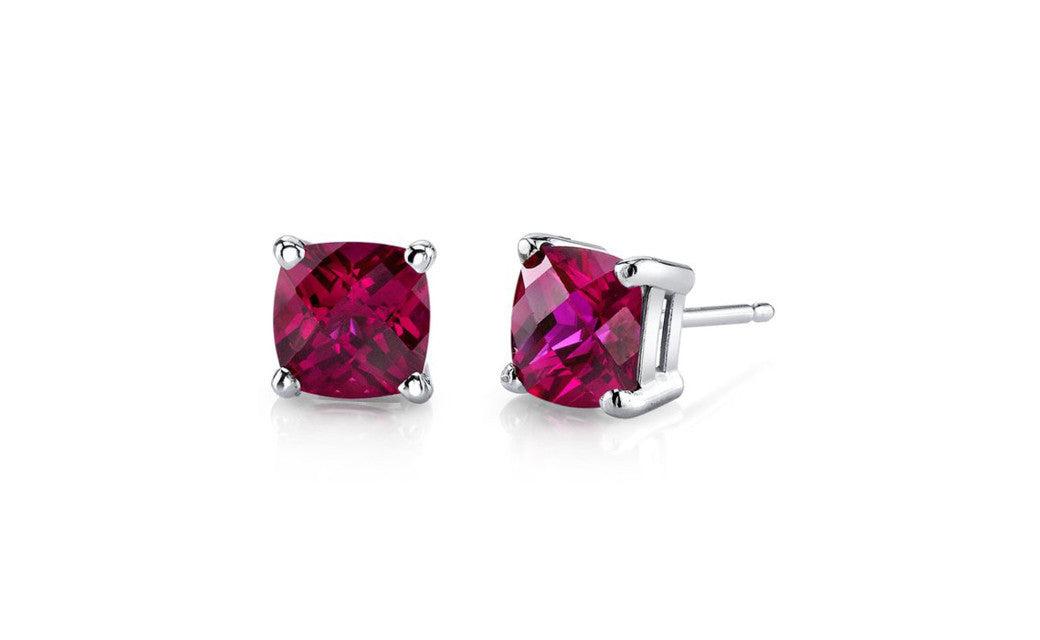 Sterling Silver 1 Carat Princess Ruby Cubic Zirconia Stud Earrings
