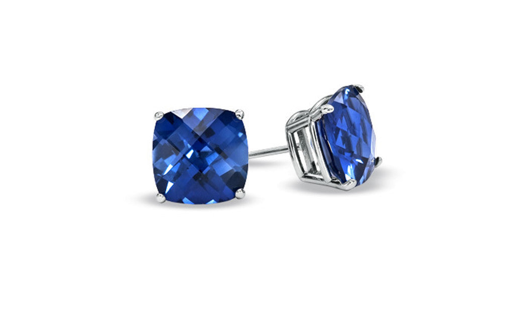 Sterling Silver 1 Carat Princess Blue Sapphire Cubic Zirconia Earrings