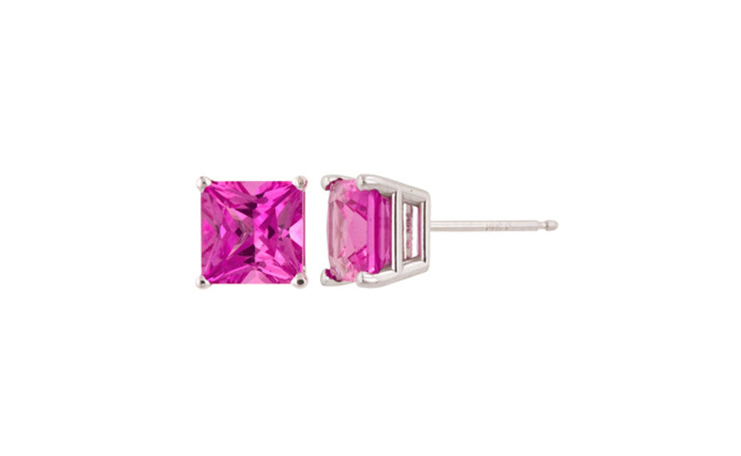 Sterling Silver 1Ct Princess Pink Tourmaline Cubic Zirconia Earrings