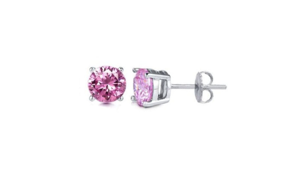 Heavy 10k White Gold Over Sterling Silver Round Pink Cz Stud Earrings