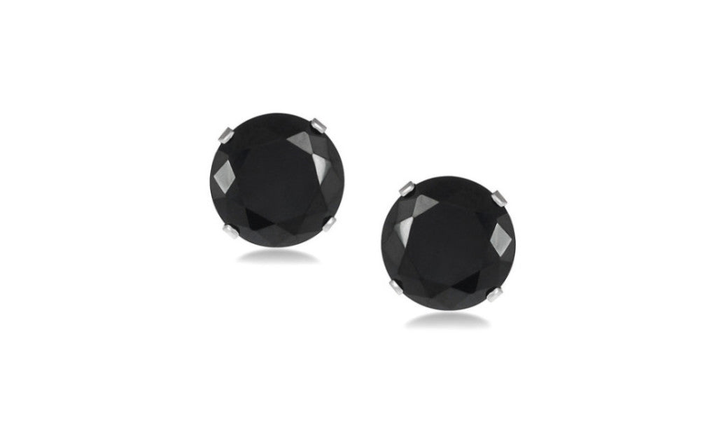 Kids/Grils 10k White Gold Over Sterling Silver Round Black Cz Earrings