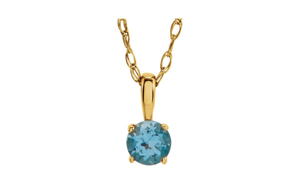 "14K Yellow Gold Imitation Birthstone 14"" Necklace"