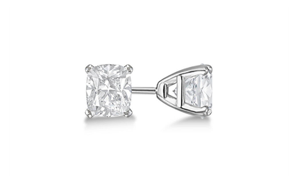 Platinum Over Sterling Silver White Princess Swarovski Elements Stud