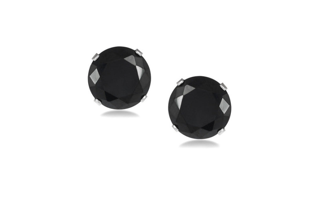 10k White Gold Over Sterling Silver 1/2ct Round Black Cz Stud Earrings