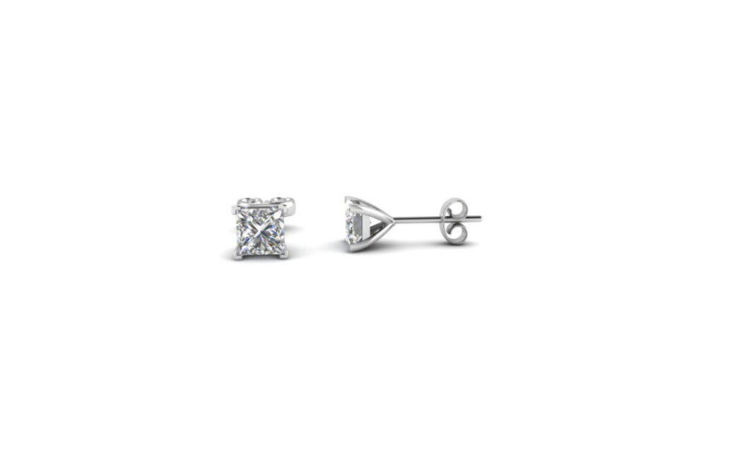 10k White Gold Over Silver 1 Ct Princess White Cz Stud Earrings