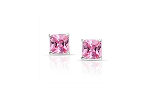 10k White Gold Over Sterling Silver 2ct Princess Pink Cz Stud Earrings