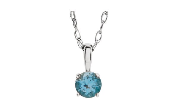 "Sterling Silver Imitation Birthstone 14"" Necklace"