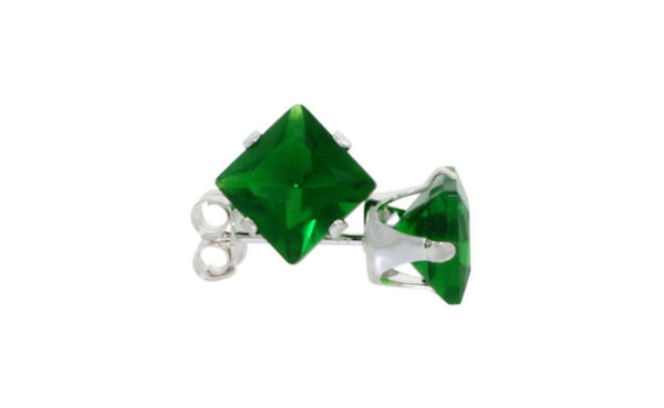 18k White Gold Over Sterling Silver 4Ct Princess Emerald Cz Earrings