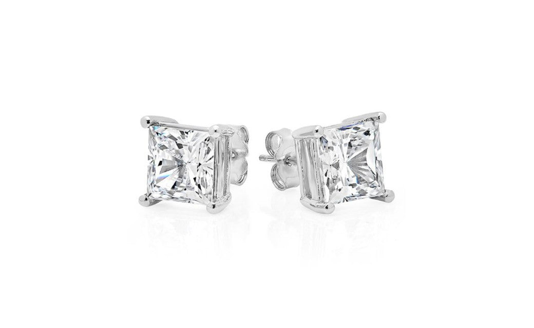 Sterling Silver .925 Genuine White Princess Cz 1.5 Ct Earrings