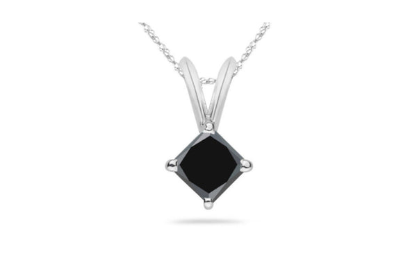 18k White Gold Princess Black Crystal Diamond Necklace