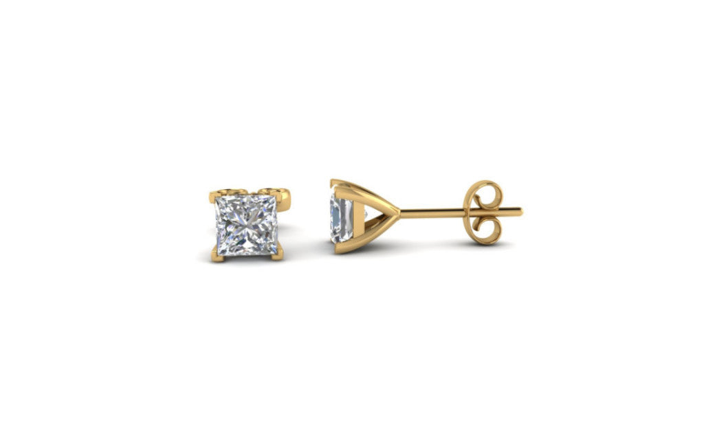 14K Yellow Gold Over Silver Kids 1/4 Ct Princess White Stud Earrings