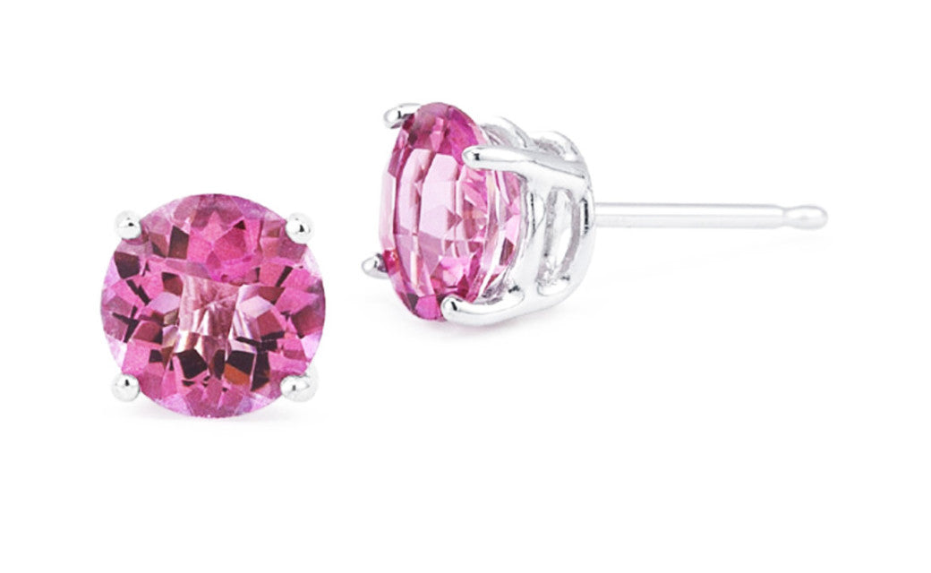 14k White Gold Over Sterling Silver 4Ct Round Tourmaline Cz Earrings