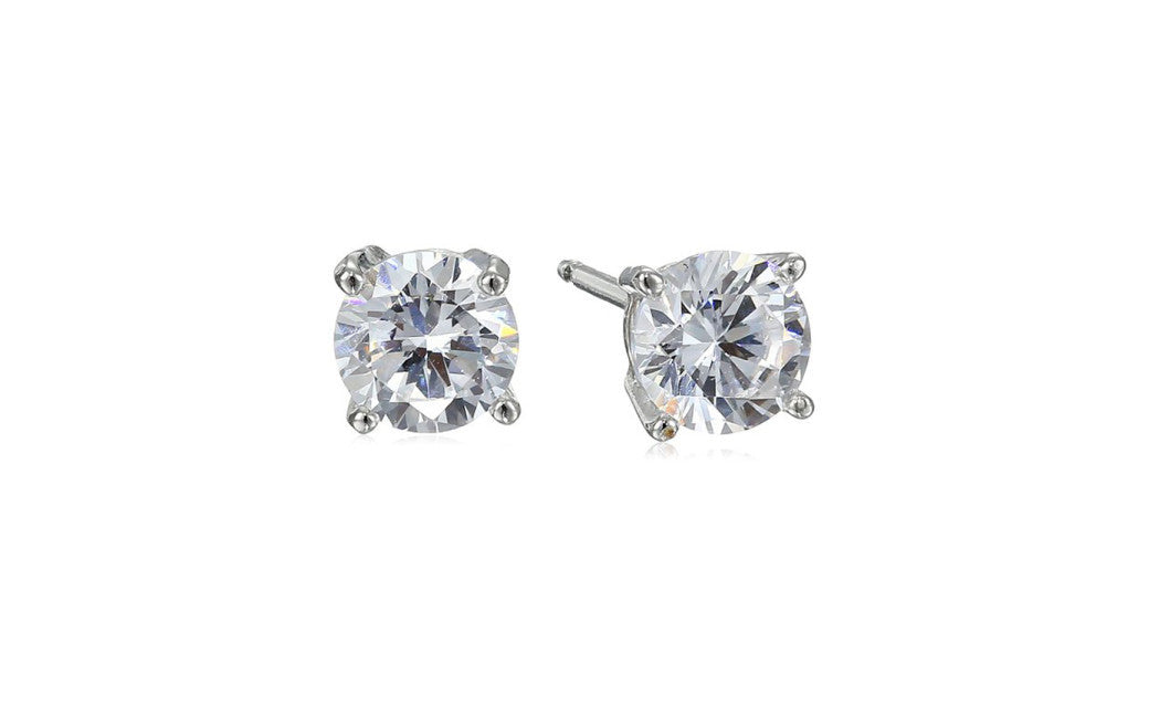 Platinum-Plated Silver Round White Cubic Zirconia Stud Earrings