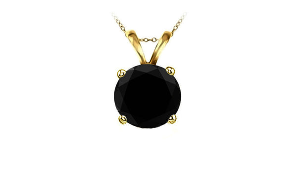 14k Yellow Gold Round Black Crystal Diamond Necklace