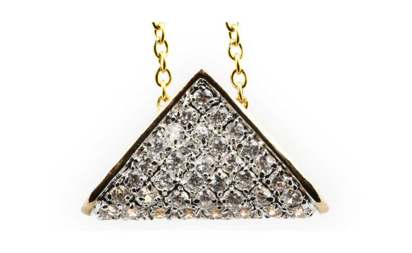 14k Yellow Gold Round White Crystal Diamond Triangle Shape Necklace