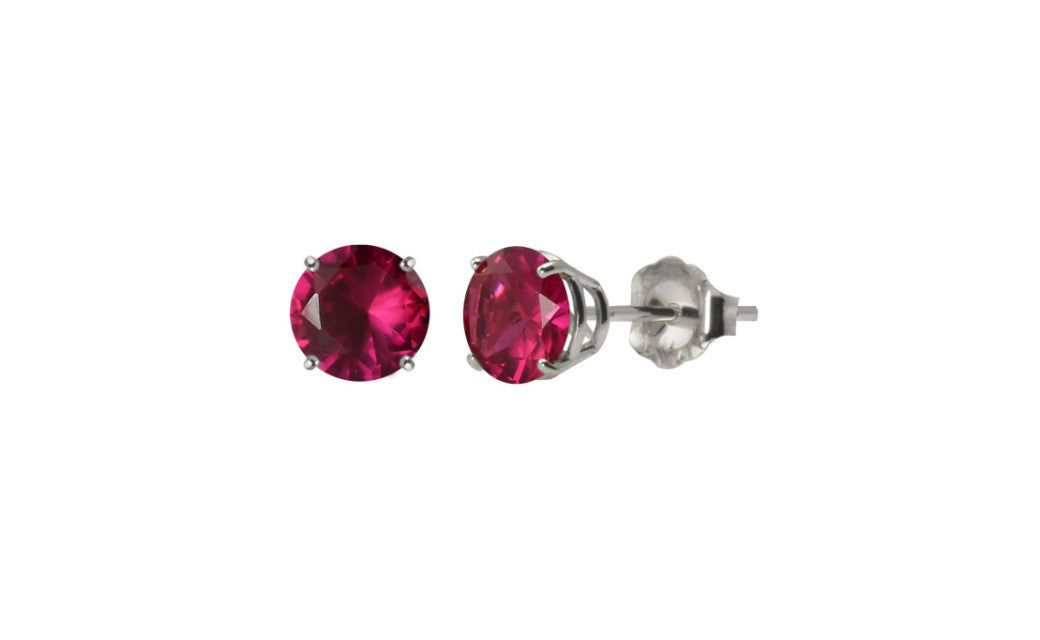 Sterling Silver 2 Ct Round Cut Ruby Cubic Zirconia VS1 Stud Earrings