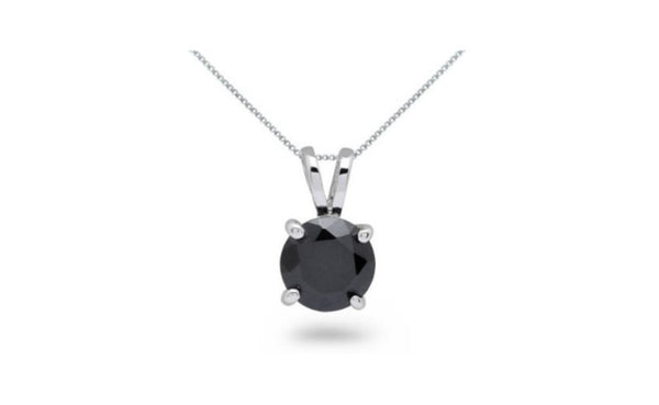 14k White Gold Round Black Crystal Diamond Necklace