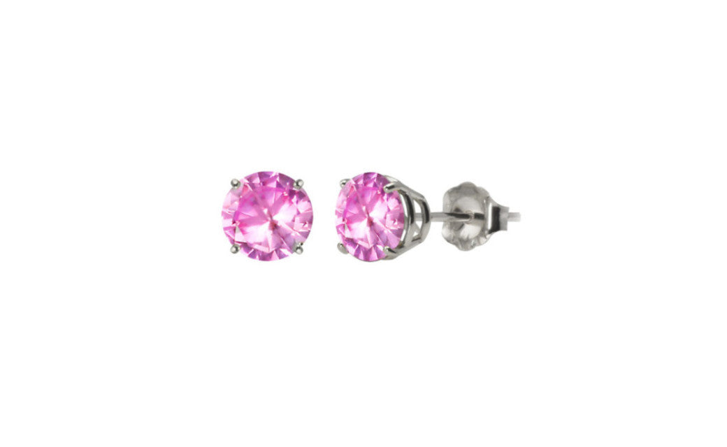 10k White Gold Over Sterling Silver 1/2 Ct Round Pink Cz Stud Earring