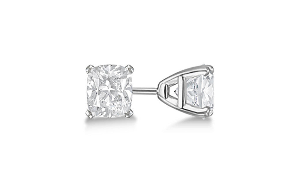 Platinum Over Silver Princess White Swarovski Elements Stud Earrings