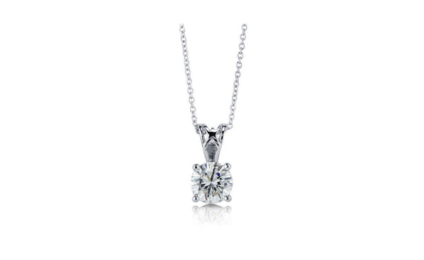 Round Cut 1 Ct White Cubic Zirconia VS1 Sterling Silver Necklace