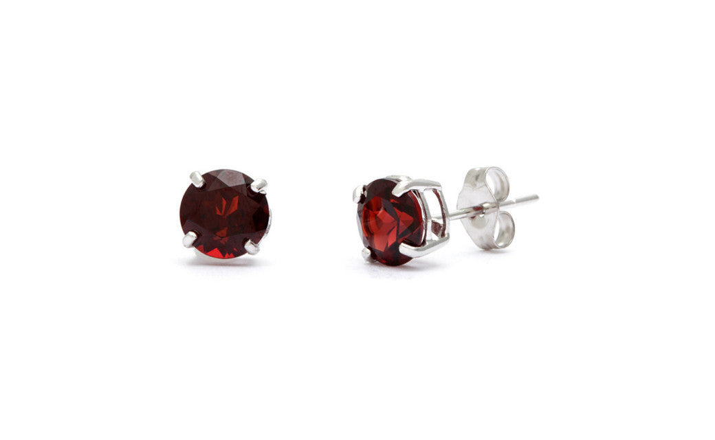 Sterling Silver 1 Carat Garnet Cubic Zirconia Round Stud Earrings