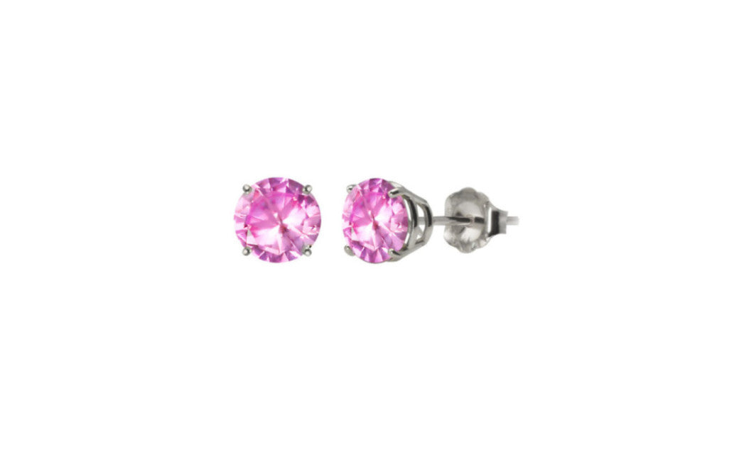 Heavy 10k White Gold Over Sterling Silver 2ct Round Pink Cz Earrings
