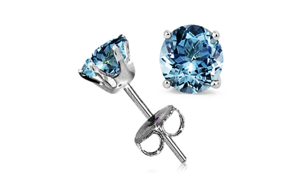 Sterling Silver 1 Carat Aquamarine Cubic Zirconia Round Stud Earrings
