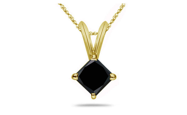 14K Yellow Gold Over Silver Princess Black Cubic Zirconia Necklace