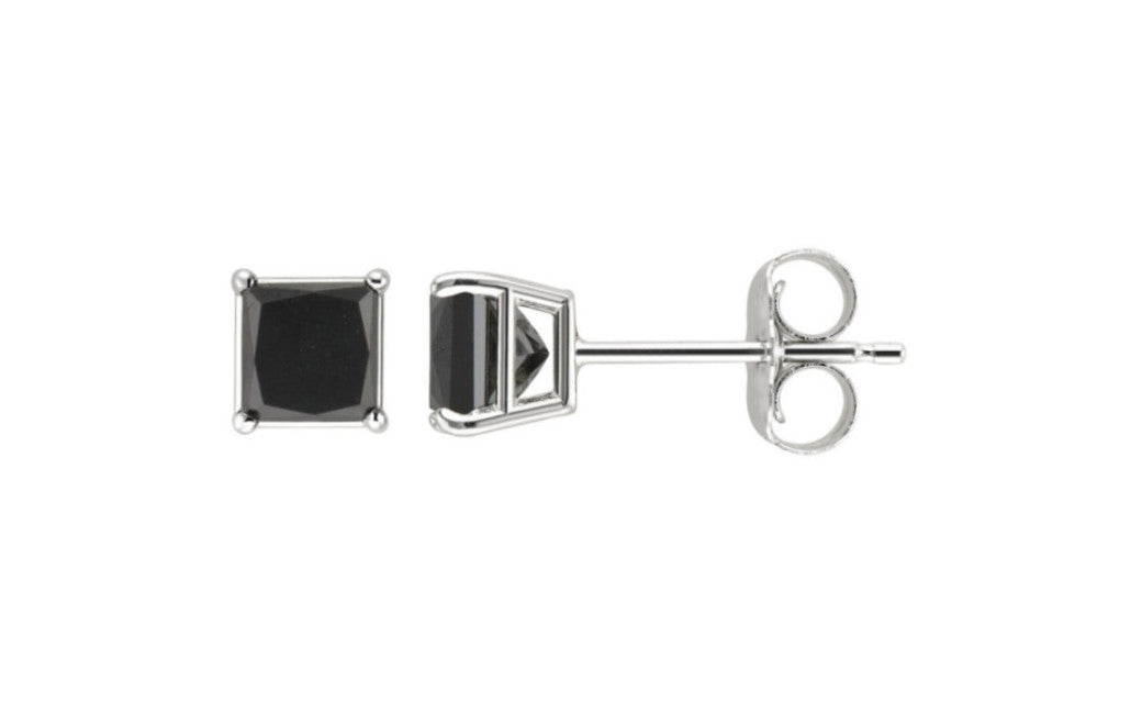 Heavy 10k White Gold Over Sterling Silver Princess Black Cz Earrings