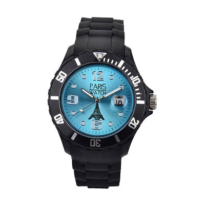 Men Silicone Quartz Calendar Date Black and Light Blue Dial Watch Fashion Designed in France