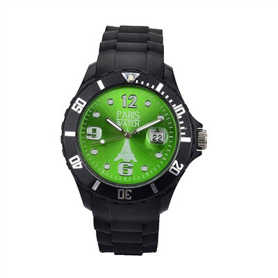 Men Silicone Quartz Calendar Date Black and Green Dial Watch Fashion Designed in France