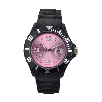 Men Silicone Quartz Calendar Date Black and Light Rose Dial Watch Fashion Designed in France