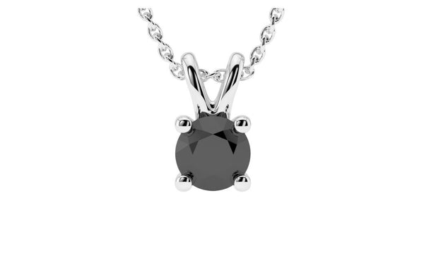 Sterling Silver Black Round Cubic Zirconia Necklace VS1