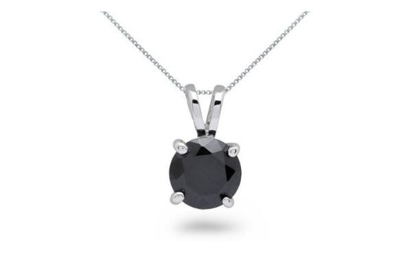 14k White Gold Round Cut Black Cubic Zirconia Necklace