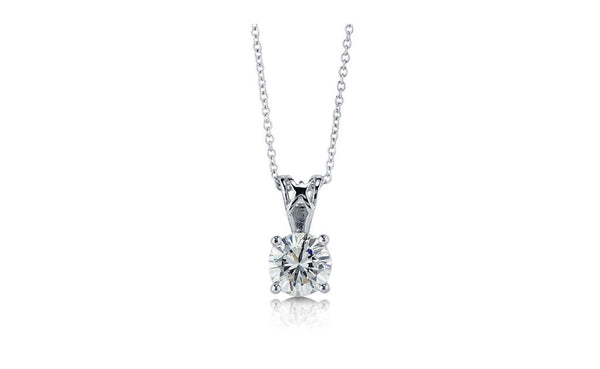 14K White Gold Round Cut 3Ct White Cubic Zirconia VS1 Necklace