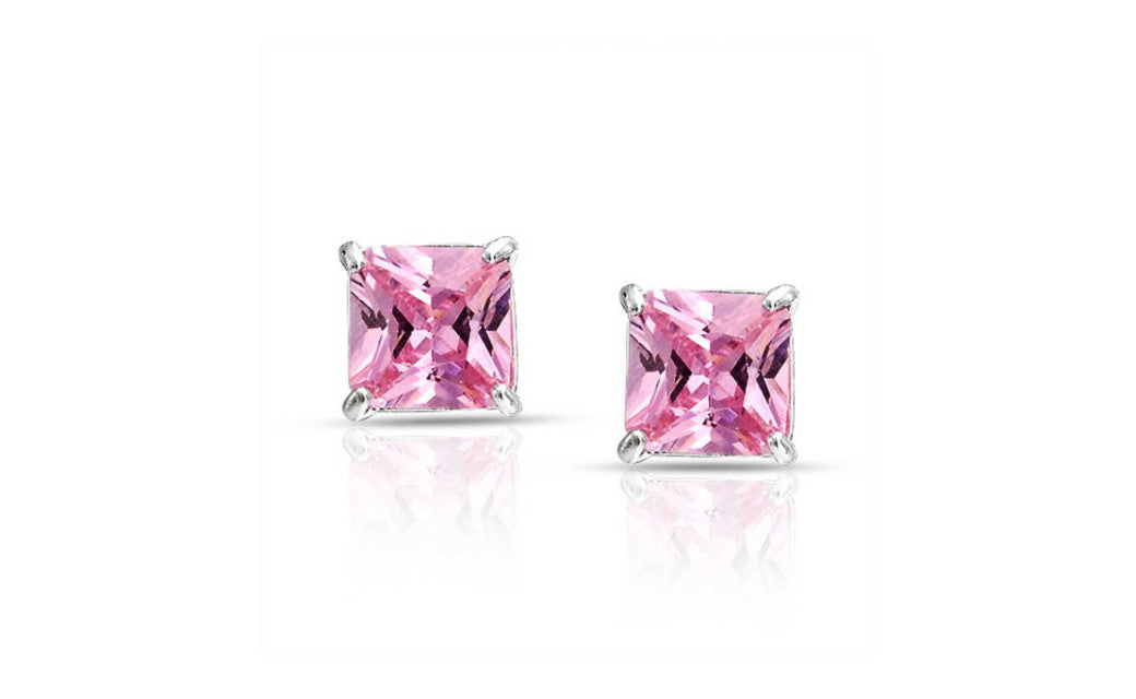 Sterling Silver 2 Ct Princess Pink Cubic Zirconia VS1 Stud Earrings