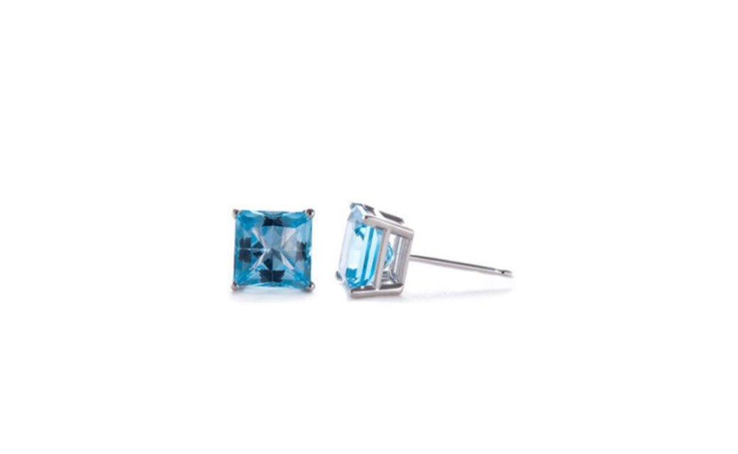 Sterling Silver 4 Carat Princess Zircon Cubic Zirconia Stud Earrings