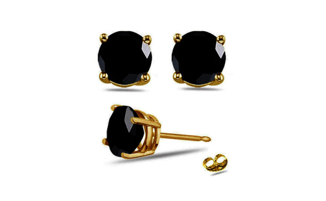 14K Yellow Gold Over Sterling Silver 3 Ct Round Black Cz Stud Earrings