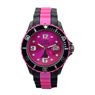 Men Silicone Quartz Calendar Date Black and Multicolor Pink Dial Watch Fashion Designed in France
