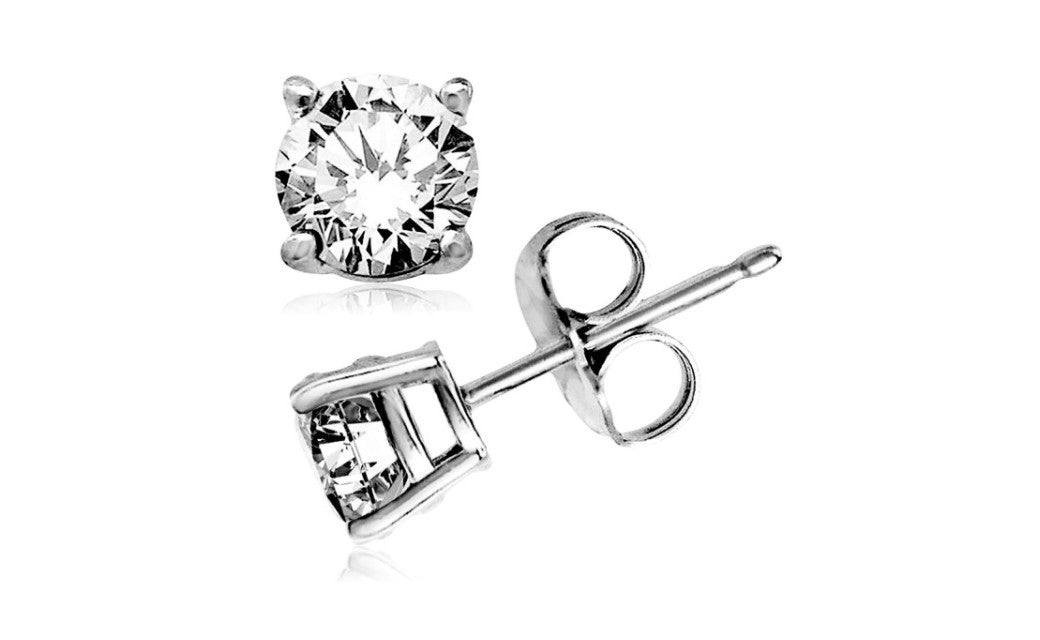 Kids/Girls 14K White Gold Over Silver 4Ct Round White Cz Stud Earrings
