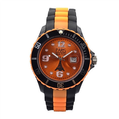Men Silicone Quartz Calendar Date Black and Multicolor Colorful Dial Watch Fashion Designed in France