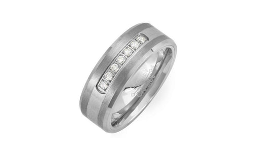 1/2 Carat Round White Cubic Zirconia Tungsten Ring For women's